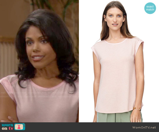 Rebecca Taylor Jersey Top with Mesh worn by Karla Mosley on The Bold & the Beautiful