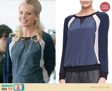 Rebecca Taylor Knit-Trim Chiffon Sweatshirt worn by Sarah Michelle Gellar on The Crazy Ones