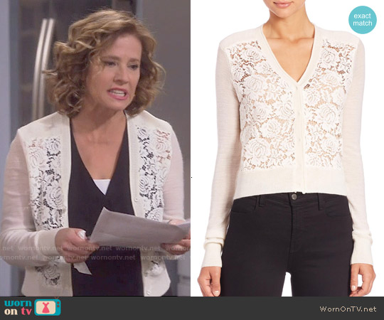 Rebecca Taylor Lace Front Cardigan worn by Nancy Travis on Last Man Standing