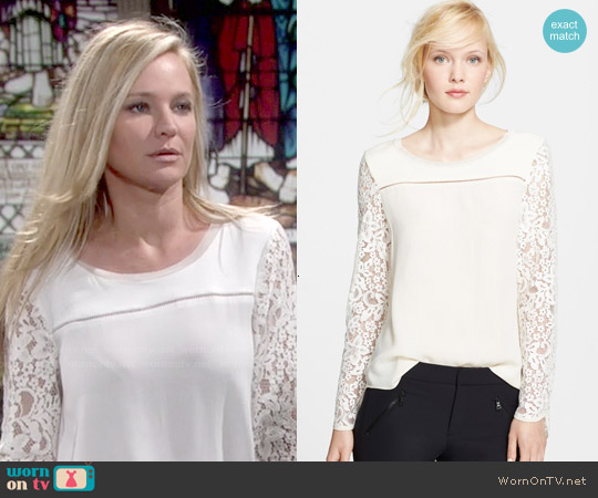 Rebecca Taylor Long Sleeve Lace Mix Top worn by Sharon Case on The Young & the Restless