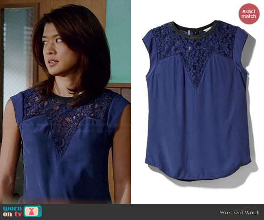 Rebecca Taylor Lace Mix Top worn by Grace Parks on Hawaii Five-O