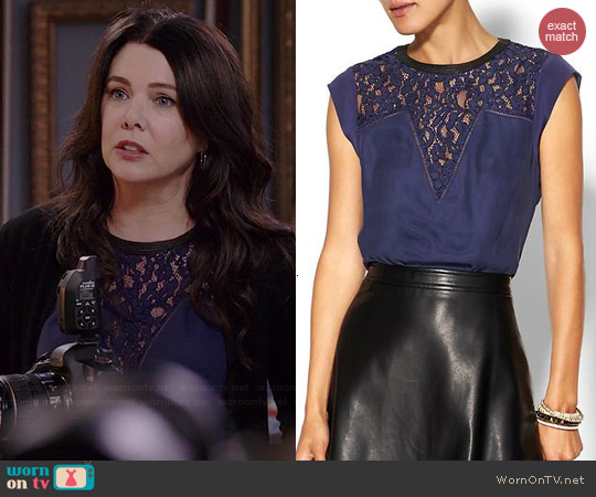Rebecca Taylor Lace Mix Top worn by Lauren Graham on Parenthood