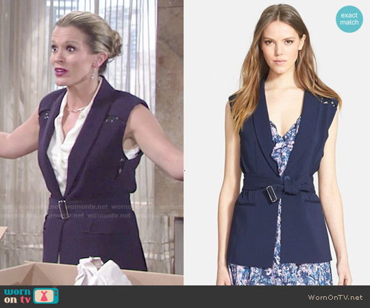 Rebecca Taylor Lace Detail Suiting Vest worn by Melissa Claire Egan on The Young & the Restless