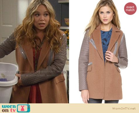 Rebecca Taylor Leather Sleeve Coat worn by Amanda Fuller on Last Man Standing