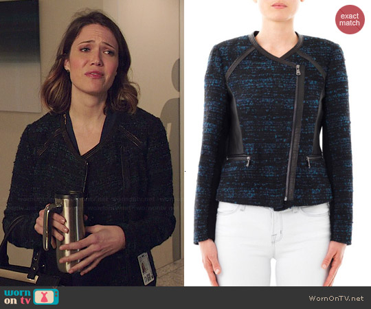 Rebecca Taylor Leather Trim Boucle Jacket worn by Mandy Moore on Red Band Society