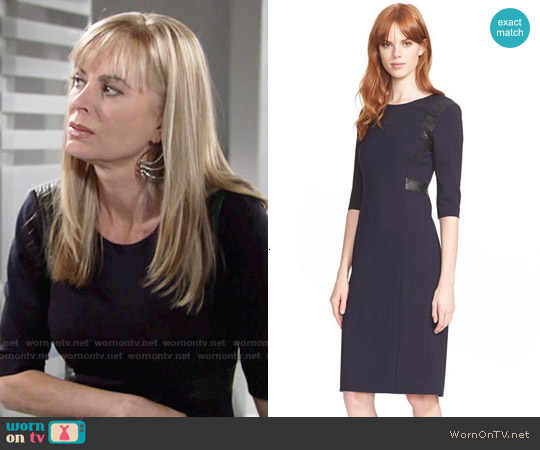 Rebecca Taylor Leather Trim Sheath worn by Eileen Davidson on The Young & the Restless