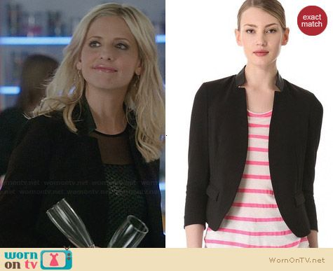 Rebecca Taylor Leather Trimmed Blazer worn by Sarah Michelle Gellar on The Crazy Ones