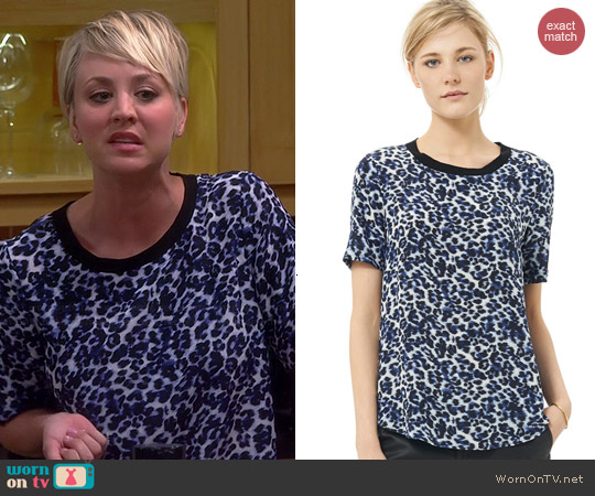 Rebecca Taylor Lynx Print Crepe de Chine Tee worn by Kaley Cuoco on The Big Bang Theory