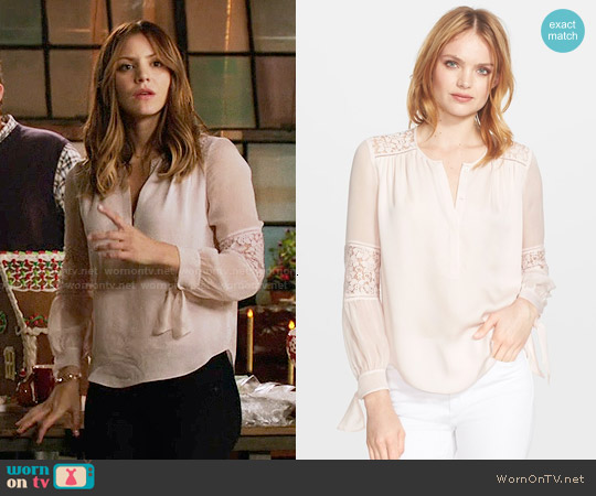 Rebecca Taylor Long Sleeve Silk and Lace Blouse in Malt Ball worn by Katharine McPhee on Scorpion