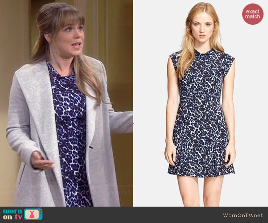 Rebecca Taylor Lynx Print Mock Neck Dress worn by Amanda Fuller on Last Man Standing