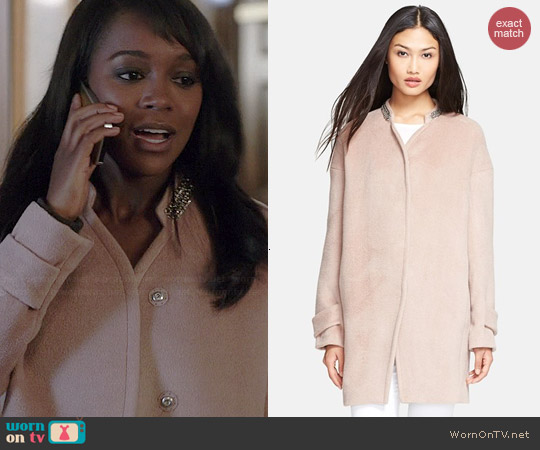 Rebecca Taylor Melton Cocoon Coat worn by Aja Naomi King on HTGAWM