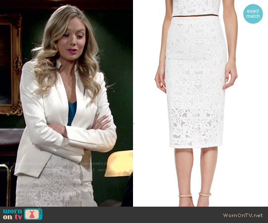 Rebecca Taylor Netted Lace Pencil Skirt worn by Abby Newman on The Young & the Restless