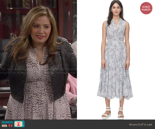 Rebecca Taylor Ombre Leopard Ruched Dress worn by Cristela Alonzo on Cristela