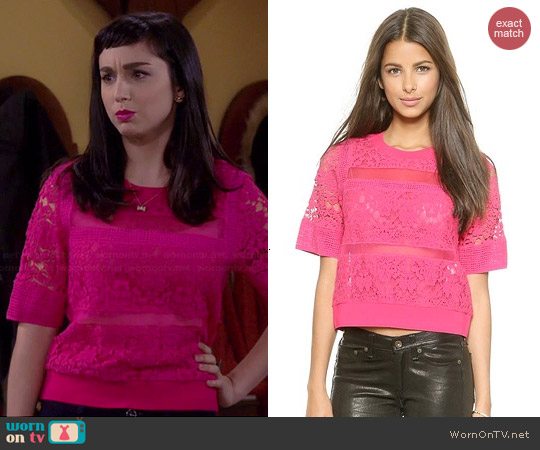Rebecca Taylor Patch Lace Top worn by Molly Ephraim on Last Man Standing