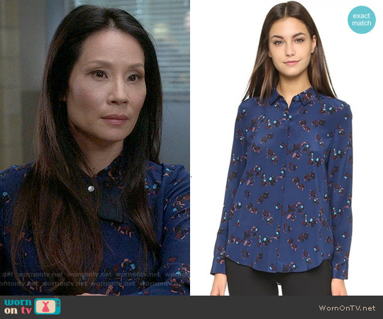 Rebecca Taylor Pinwheel Posey Top in Galaxy Combo worn by Lucy Liu on Elementary