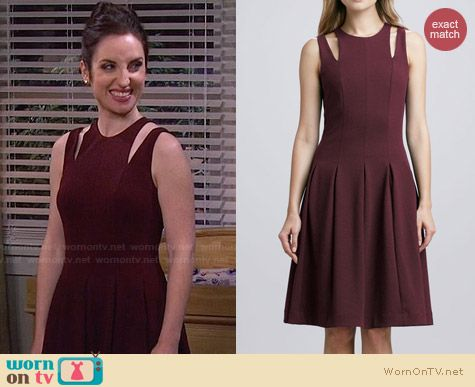 Rebecca Taylor Ponte Cutout Shoulder Dress worn by Zoe Lister Jones on FWBL