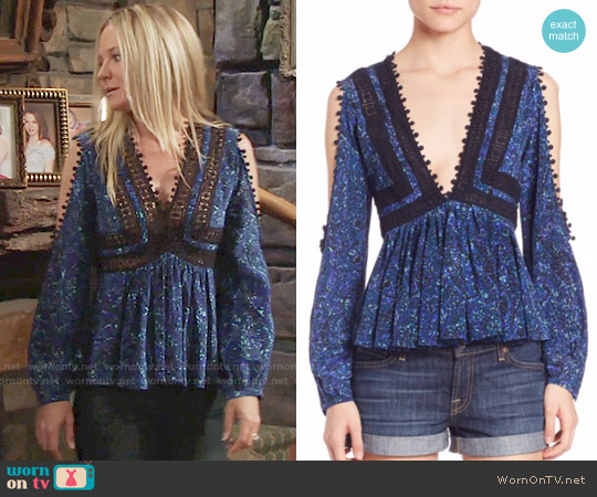 Rebecca Taylor Printed Lace Top worn by Sharon Case on The Young & the Restless