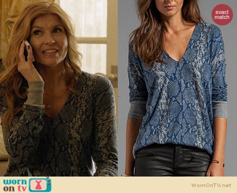 Rebecca Taylor Snake printed sweater worn by Connie Britton on Nashville