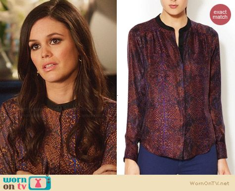 Rebecca Taylor Python Print Henley Blouse worn by Rachel Bilson on Hart of Dixie