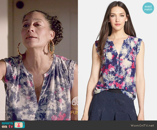 Rebecca Taylor Rose Garden Print Silk Top worn by Tracee Ellis Ross on Blackish