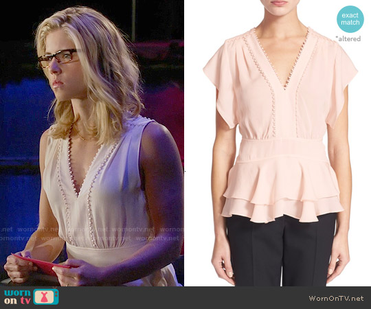Rebecca Taylor Ruffle V-neck Top worn by Emily Bett Rickards on Arrow