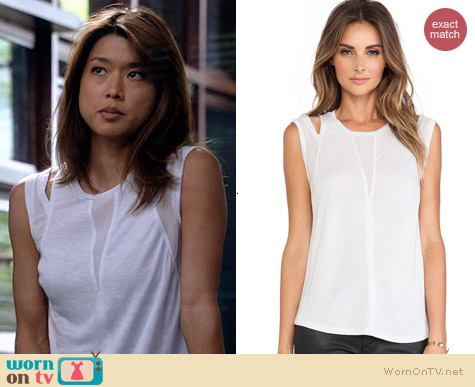 Rebecca Taylor Shoulder Cutout Tank worn by Grace Parks on Hawaii Five-O
