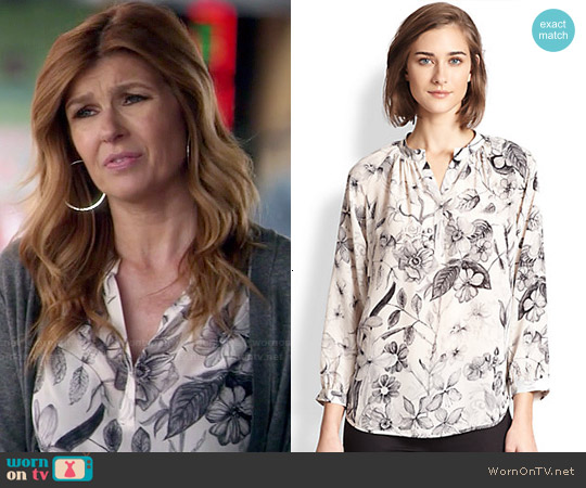 Rebecca Taylor Silk Botanical Print Blouse worn by Connie Britton on Nashville
