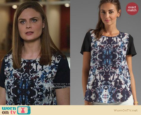 Rebecca Taylor Silk Floral Top worn by Emily Deschanel on Bones