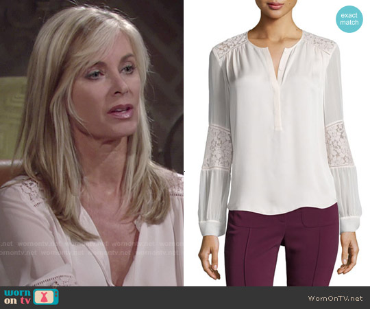 Rebecca Taylor Silk and Lace Blouse in Malt Ball worn by Eileen Davidson on The Young & the Restless
