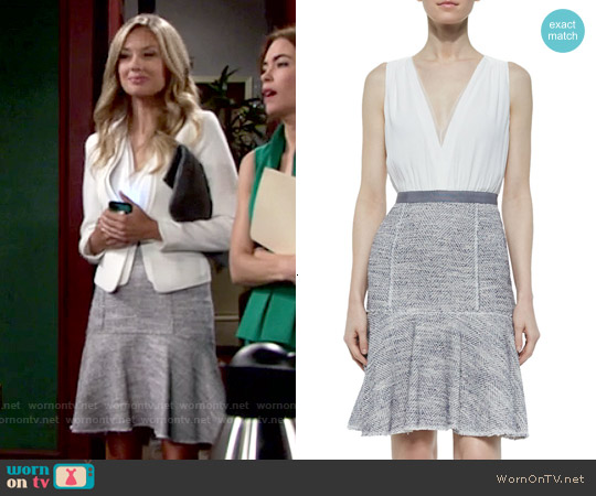 Rebecca Taylor Sleeveless Crepe & Tweed Dress worn by Melissa Ordway on The Young & the Restless