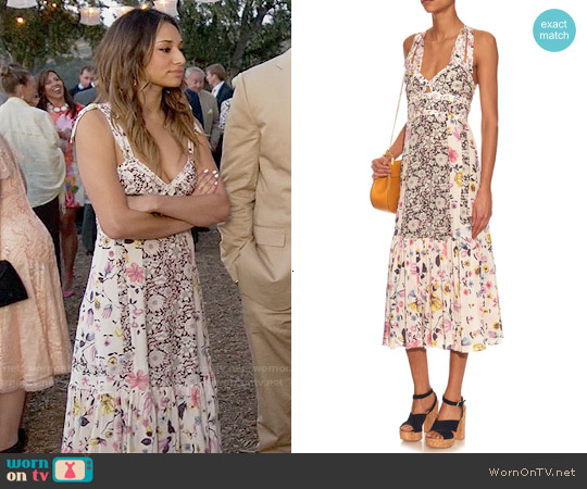 Rebecca Taylor Sleeveless Floral Print Silk Dress worn by May on New Girl