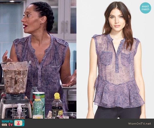 Rebecca Taylor 'Static' Ruffle Hem Silk Sleeveless Top worn by Tracee Ellis Ross on Blackish
