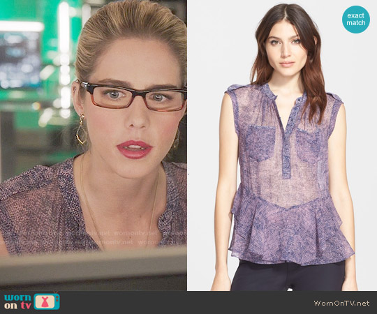 Rebecca Taylor Static Ruffle Hem Silk Sleeveless Top worn by Emily Bett Rickards on Arrow