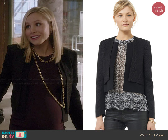 Rebecca Taylor Stretch Snake Jacquard Double Layer Jacket worn by Kristen Bell on House of Lies