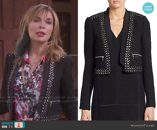 Rebecca Taylor Studded Cropped Jacket worn by Lauren Koslow on Days of our Lives