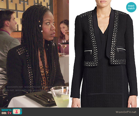 Rebecca Taylor Studded Cropped Jacket worn by Xosha Roquemore on The Mindy Project