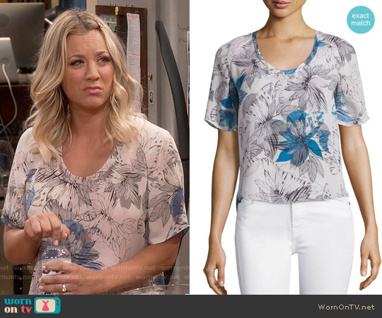 Rebecca Taylor Short-Sleeve Tahitian Flower Silk Chiffon Top worn by Kaley Cuoco on The Big Bang Theory