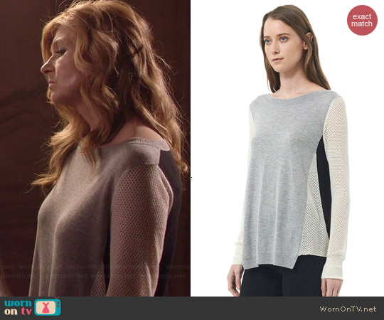 Rebecca Taylor Textured Blocked Pullover in Flint Combo worn by Connie Britton on Nashville
