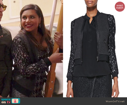 Rebecca Taylor Textured Lace Bomber Jacket worn by Mindy Lahiri on The Mindy Project