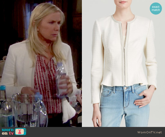 Rebecca Taylor Textured Peplum Jacket worn by Katherine Kelly Lang on The Bold & the Beautiful