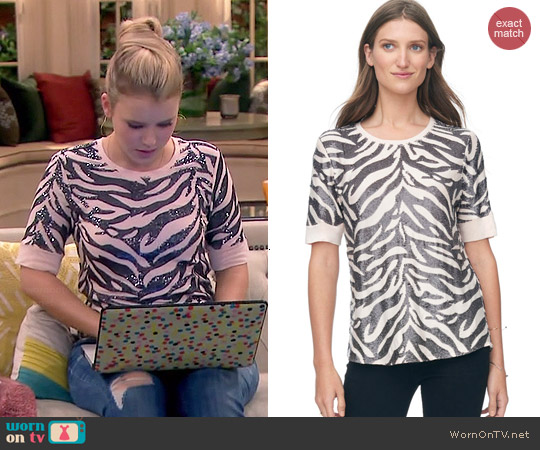 Rebecca Taylor Tiger Sequin Top worn by Taylor Sprietler on Melissa & Joey