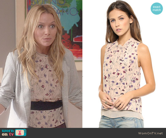 Rebecca Taylor Trellis Print Top worn by Caryn Goldfarb on Weird Loners