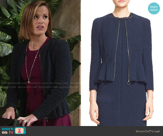 Rebecca Taylor Zip Front Bouclé Tweed Jacket worn by Chelsea Lawson on The Young & the Restless