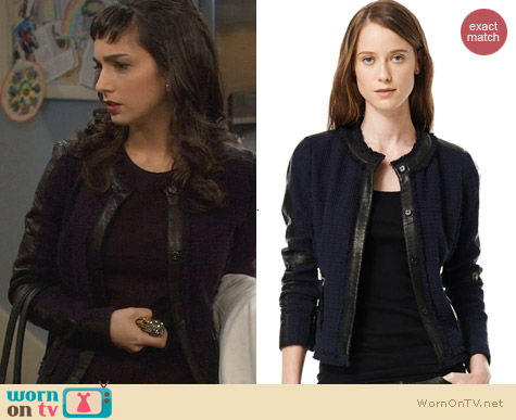 Rebecca Taylor Tweed & Leather Trim Fitted Jacket worn by Molly Ephraim on Last Man Standing