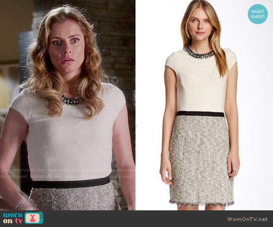 Rebecca Taylor Embellished Tweed Silk Combo Dress worn by Brianna Brown on Devious Maids