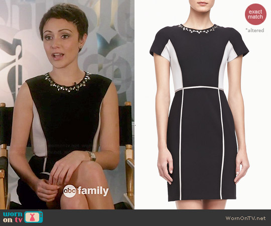 Rebecca Taylor Two-Tone Crepe Dress worn by Italia Ricci on Chasing Life