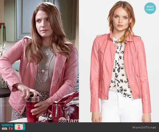 Rebecca Taylor Washed Leather Moto Jacket in Guava worn by Paige Spara on Kevin from Work