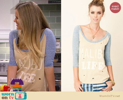 Rebel Yell Malibu Destroyed Baseball Tee worn by Brooklyn Decker on FWBL