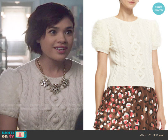 RED Valentino Aran Short-Sleeve Cable-Knit Pullover worn by Nicole Gale Anderson on Beauty & the Beast