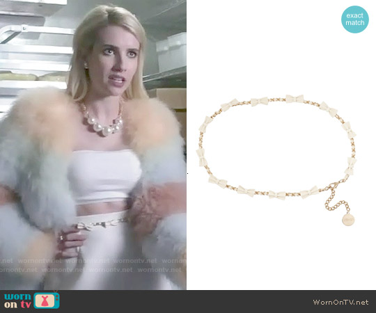 RED Valentino Bow-embellished Leather and Woven Chain Belt worn by Emma Roberts on Scream Queens